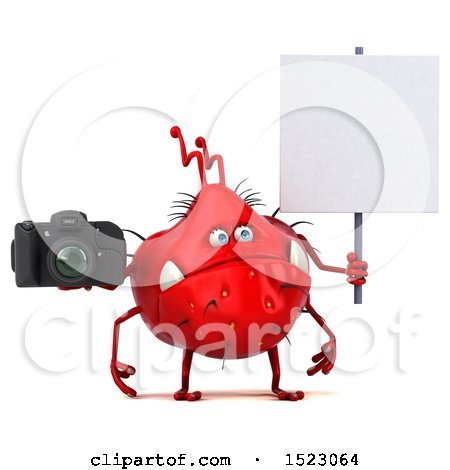 Clipart of a 3d Red Germ Monster Holding a Camera, on a White Background - Royalty Free Illustration by Julos