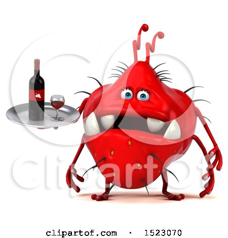 Clipart of a 3d Red Germ Monster Holding Wine, on a White Background - Royalty Free Illustration by Julos