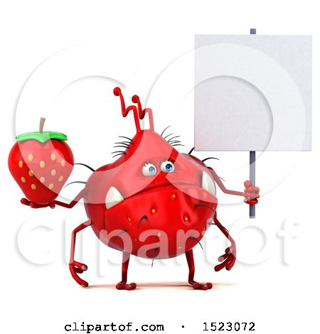 Clipart of a 3d Red Germ Monster Holding a Strawberry, on a White Background - Royalty Free Illustration by Julos