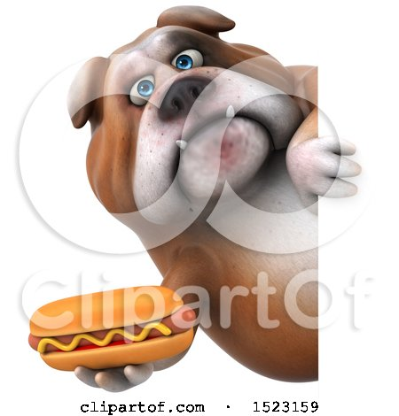 Clipart of a 3d Bulldog Holding a Hot Dog, on a White Background - Royalty Free Illustration by Julos