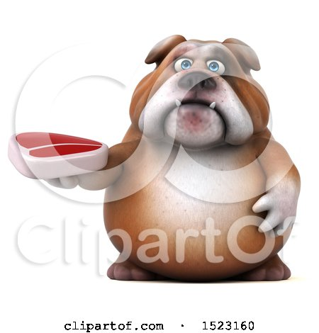 Clipart of a 3d Bulldog Holding a Steak, on a White Background - Royalty Free Illustration by Julos
