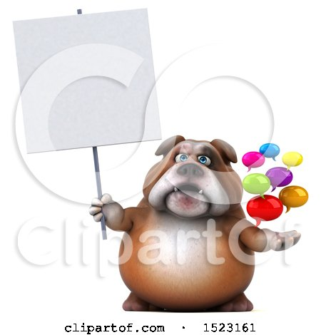 Clipart of a 3d Bulldog Holding Messages, on a White Background - Royalty Free Illustration by Julos