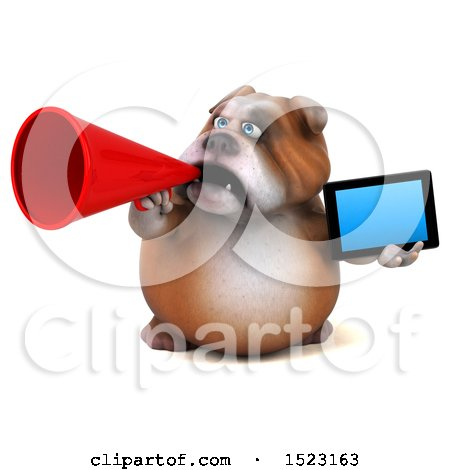 Clipart of a 3d Bulldog Holding a Tablet, on a White Background - Royalty Free Illustration by Julos
