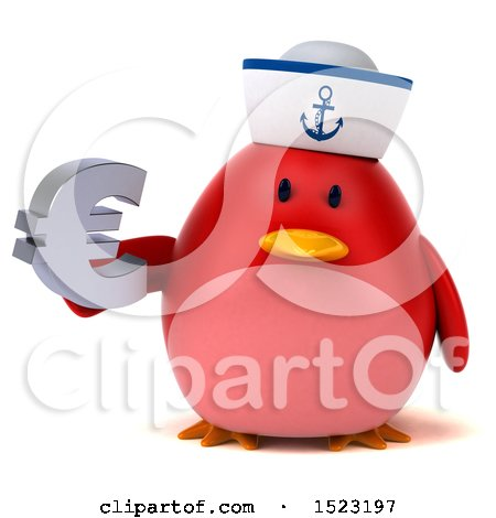Clipart of a 3d Chubby Red Bird Sailor Holding a Euro, on a White Background - Royalty Free Illustration by Julos