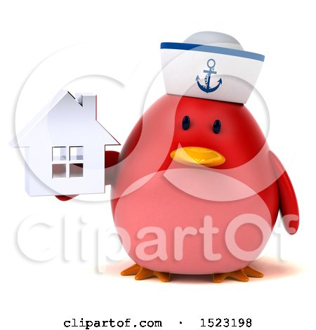 Clipart of a 3d Chubby Red Bird Sailor Holding a House, on a White Background - Royalty Free Illustration by Julos