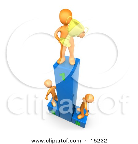 Successful Athlete Holding A Golden Trophy Cup And Standing On The First Place Spot On A Podium While The Two Runners Up Look Upwards In Admiration Clipart Illustration Graphic by 3poD