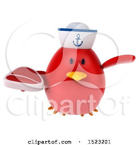 Clipart of a 3d Chubby Red Bird Sailor Holding a Steak, on a White Background - Royalty Free Illustration by Julos