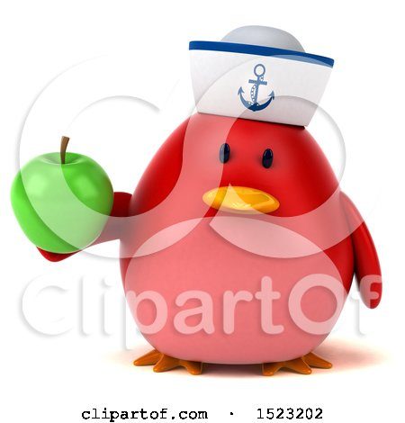 Clipart of a 3d Chubby Red Bird Sailor Holding an Apple, on a White Background - Royalty Free Illustration by Julos