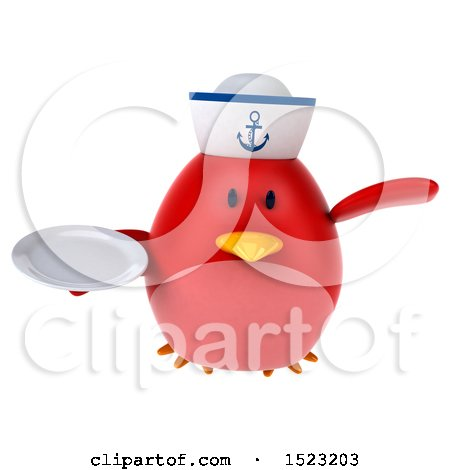 Clipart of a 3d Chubby Red Bird Sailor Holding a Plate, on a White Background - Royalty Free Illustration by Julos