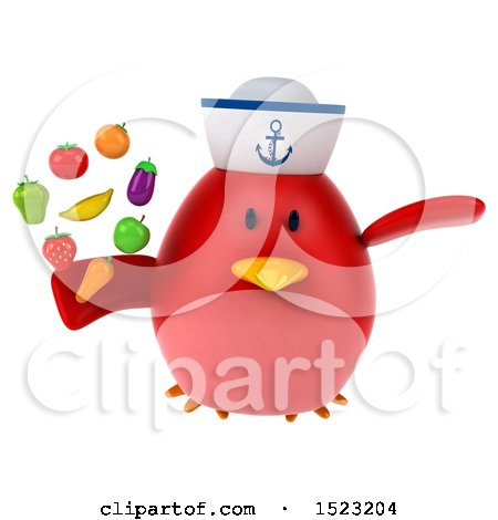 Clipart of a 3d Chubby Red Bird Sailor Holding Produce, on a White Background - Royalty Free Illustration by Julos
