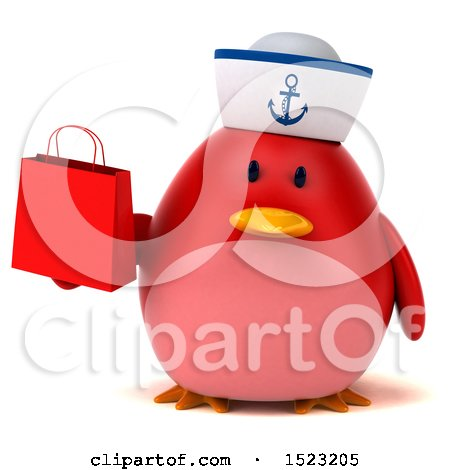 Clipart of a 3d Chubby Red Bird Sailor Holding a Shopping Bag, on a White Background - Royalty Free Illustration by Julos