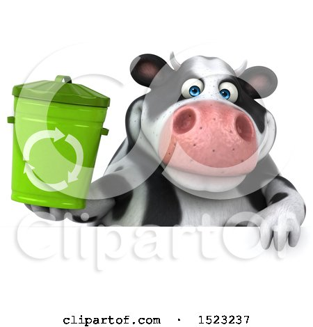 Clipart of a 3d Holstein Cow Holding a Recycle Bin, on a White Background - Royalty Free Illustration by Julos