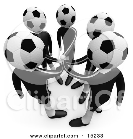 Team Of Soccer Players With A Soccer Ball Heads Putting Their Hands Together During A Huddle  Posters, Art Prints