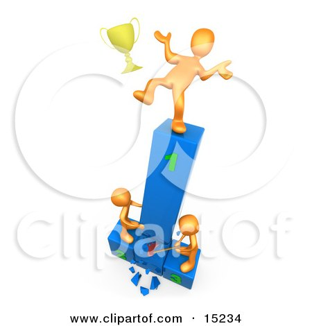 Successful Athlete Slipping And Dropping His Golden Trophy Cup While The Two Runners Up Try To Hack Down The First Place Podium In Revenge Clipart Illustration Image by 3poD