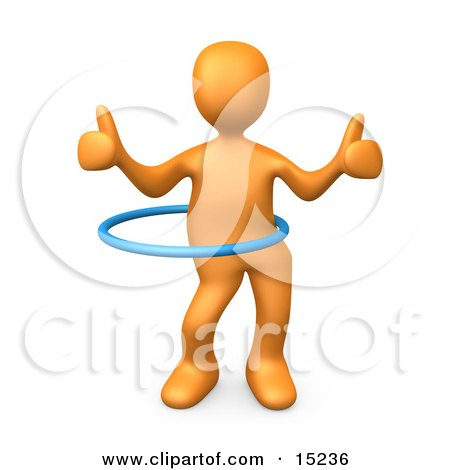 Orange Person Giving Two Thumbs Up While Swinging Their Hips With A Hula Hoop During A Competition Posters, Art Prints