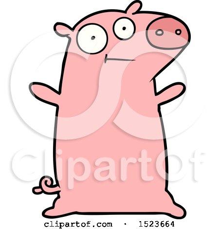 Happy Cartoon Pig by lineartestpilot
