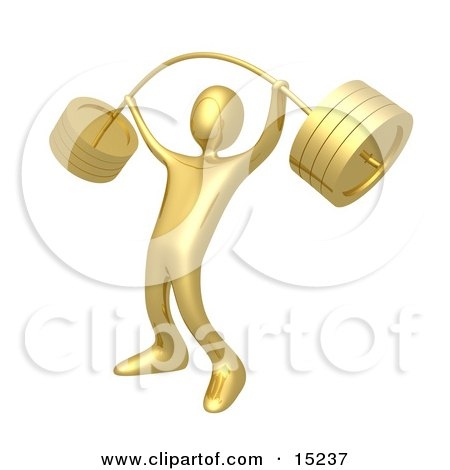 Strong Gold Man Holding Heavy And Bending Barbell Weights Above His Head In A Fitness Gym Clipart Illustration Image by 3poD