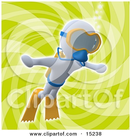White Person Swimming Underwater While Scuba Diving, Wearing Goggles, Flippers And An Oxygen Tank Over a Green Background Clipart Illustration Image by 3poD