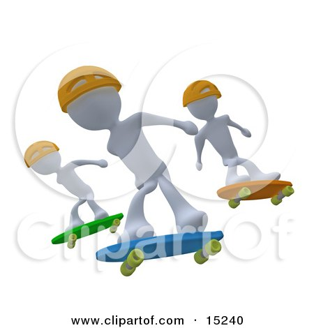 Three White Skateboarders In Yellow Helmets Catching Air All At The Same Time  Posters, Art Prints