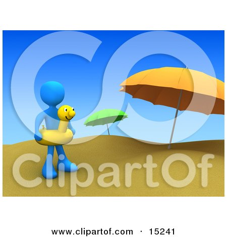 Blue Person Wearing A Yellow Inner Tube With A Face Around Their Waist And Standing By Beach Umbrellas At A Sandy Beach On Summer Vacation Clipart Illustration Image by 3poD