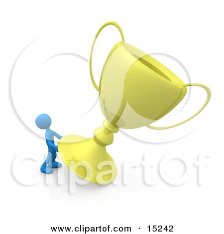 Winning Blue Athlete Person Trying To Move His Giant Gold Trophy Cup Clipart Illustration Image by 3poD
