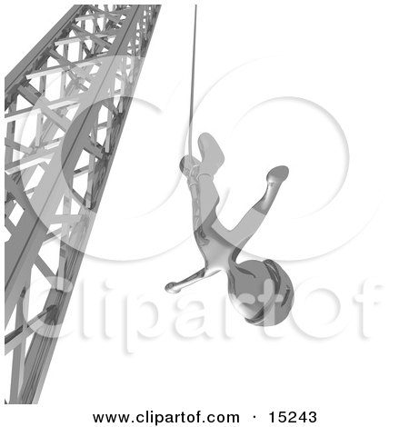 Silver Bungee Jumper In A Helmet, Falling While Bungee Jumping From A Crane  Posters, Art Prints