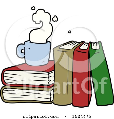 Cartoon Coffee Cup and Study Books by lineartestpilot