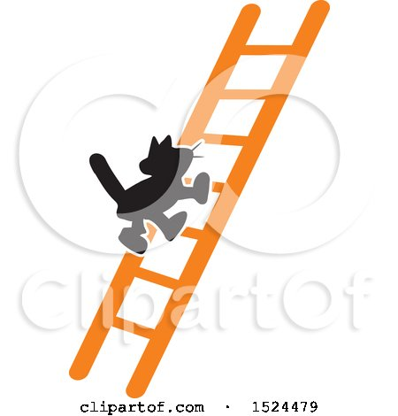 Clipart of a Black Cat Climbing a Ladder - Royalty Free Vector Illustration by Johnny Sajem
