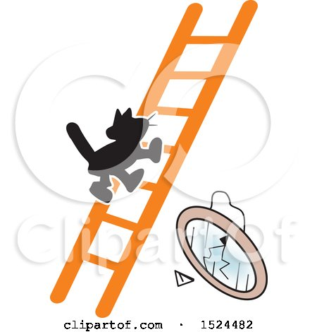Clipart of a Superstition Scene of a Black Cat on a Ladder and a Broken Mirror - Royalty Free Vector Illustration by Johnny Sajem