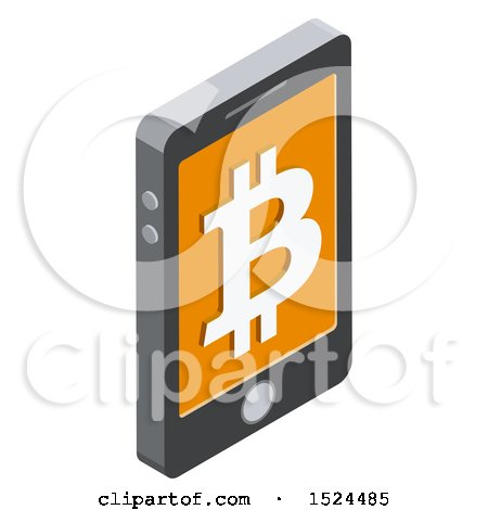 Clipart of a 3d Isometric Icon of a Cell Phone with a Bitcoin Symbol on the Screen - Royalty Free Vector Illustration by beboy