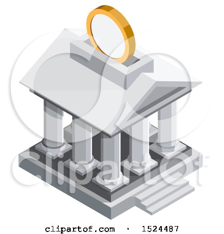 Clipart of a 3d Isometric Icon of a Coin Depositing into a Bank Building - Royalty Free Vector Illustration by beboy