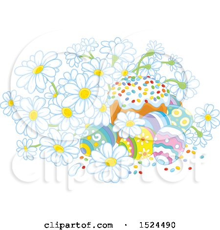 Clipart of a Cake with Easter Eggs and Daisy Flowers - Royalty Free Vector Illustration by Alex Bannykh