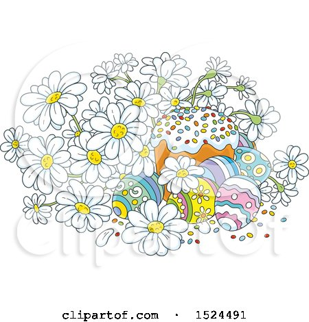 Clipart of a Cake with Easter Eggs and White Daisy Flowers - Royalty Free Vector Illustration by Alex Bannykh