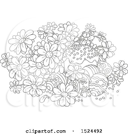 Clipart of a Black and White Cake with Easter Eggs and Daisy Flowers - Royalty Free Vector Illustration by Alex Bannykh