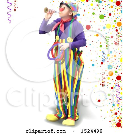 Clipart of a Clown Blowing a Horn and Holding Rings over Party Confetti and Ribbons - Royalty Free Vector Illustration by dero