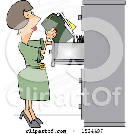 Cartoon Business Woman Office Clerk Filing Folders Posters, Art Prints
