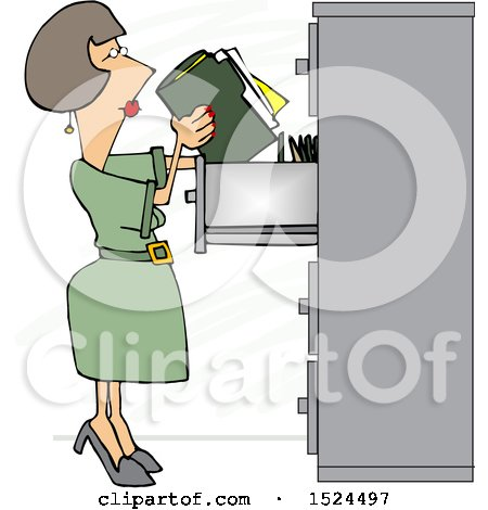 Clipart of a Cartoon Business Woman Office Clerk Filing Folders - Royalty Free Vector Illustration by djart