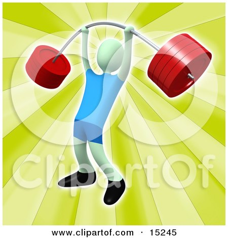 Strong Man Holding Heavy And Bending Red Barbell Weights Above His Head In A Fitness Gym Clipart Illustration Image by 3poD