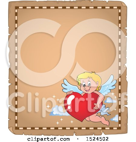 Clipart of a Valentines Day Cupid Holding a Heart on a Parchment Page - Royalty Free Vector Illustration by visekart