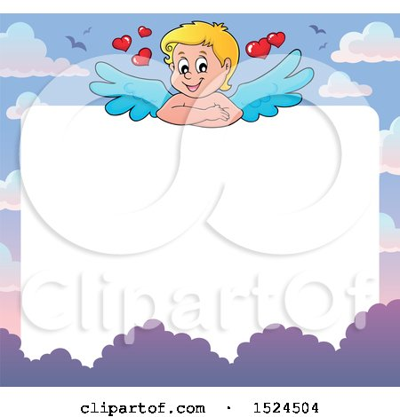 Clipart of a Valentines Day Cupid Border - Royalty Free Vector Illustration by visekart