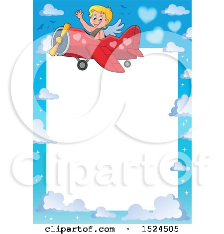 Clipart of a Valentines Day Cupid Flying a Plane Border - Royalty Free Vector Illustration by visekart