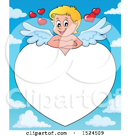 Clipart of a Valentines Day Cupid Resting on a Heart Border over Sky - Royalty Free Vector Illustration by visekart