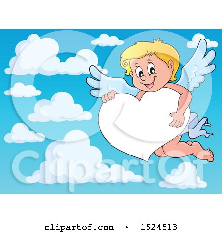 Clipart of a Valentines Day Cupid Holding on a Heart Border over Sky - Royalty Free Vector Illustration by visekart