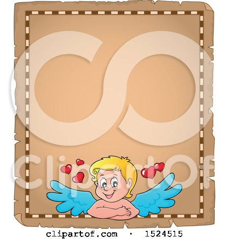 Clipart of a Valentines Day Cupid on a Parchment Page - Royalty Free Vector Illustration by visekart