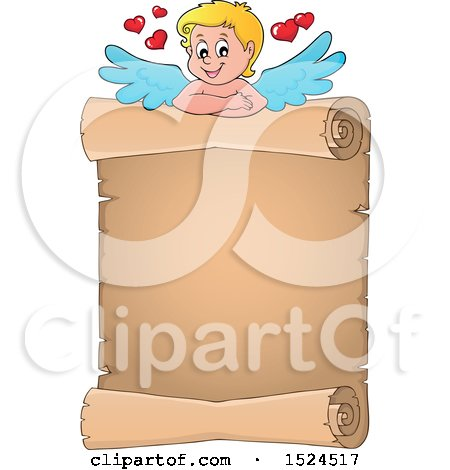 Clipart of a Valentines Day Cupid with a Parchment Scroll - Royalty Free Vector Illustration by visekart