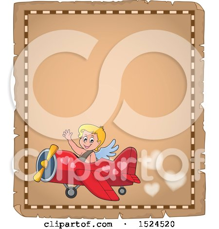 Clipart of a Valentines Day Cupid Flying a Plane on a Parchment Page - Royalty Free Vector Illustration by visekart