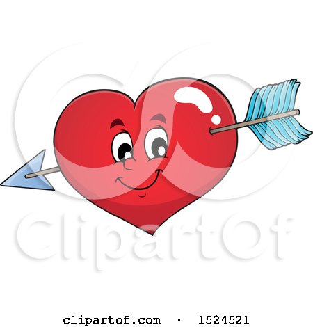 Clipart of a Red Valentines Day Love Heart Character Struck with Cupids Arrow - Royalty Free Vector Illustration by visekart
