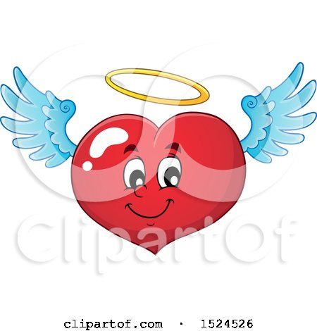 Clipart of a Red Valentines Day Love Heart Angel Character with a Halo - Royalty Free Vector Illustration by visekart