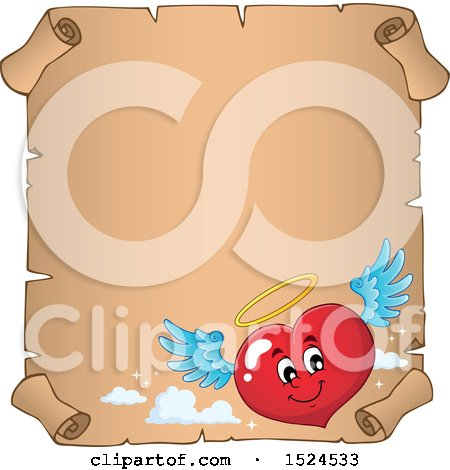 Clipart of a Red Valentines Day Love Heart Angel Character on a Parchment Scroll - Royalty Free Vector Illustration by visekart