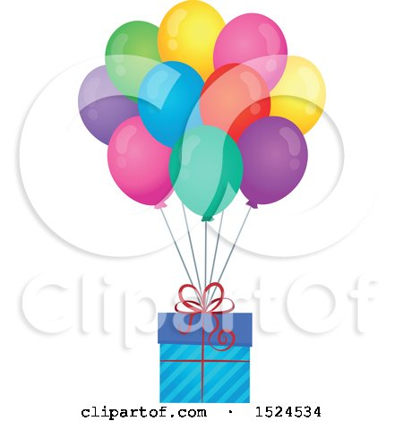 Clipart of a Gift Floating with Colorful Party Balloons - Royalty Free Vector Illustration by visekart